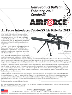 New Product Bulletin, February, 2013 - AirForce Introduces CondorSS Air Rifle for 2013