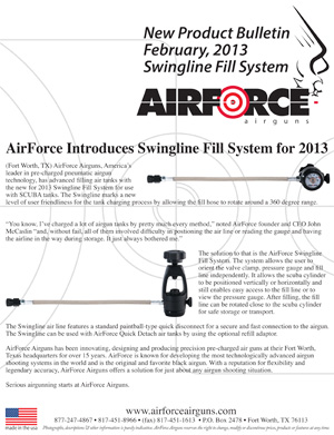 New Product Bulletin, February, 2013 - AirForce Introduces Swingline Fill System for 2013