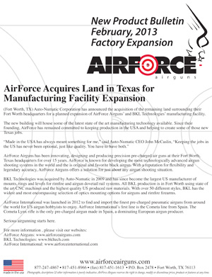 New Product Bulletin, February, 2013 - AirForce Introduces Expansion Release for 2013