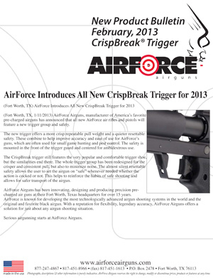 New Product Bulletin, February, 2013 - AirForce Introduces All New CrispBreak Trigger for 2013