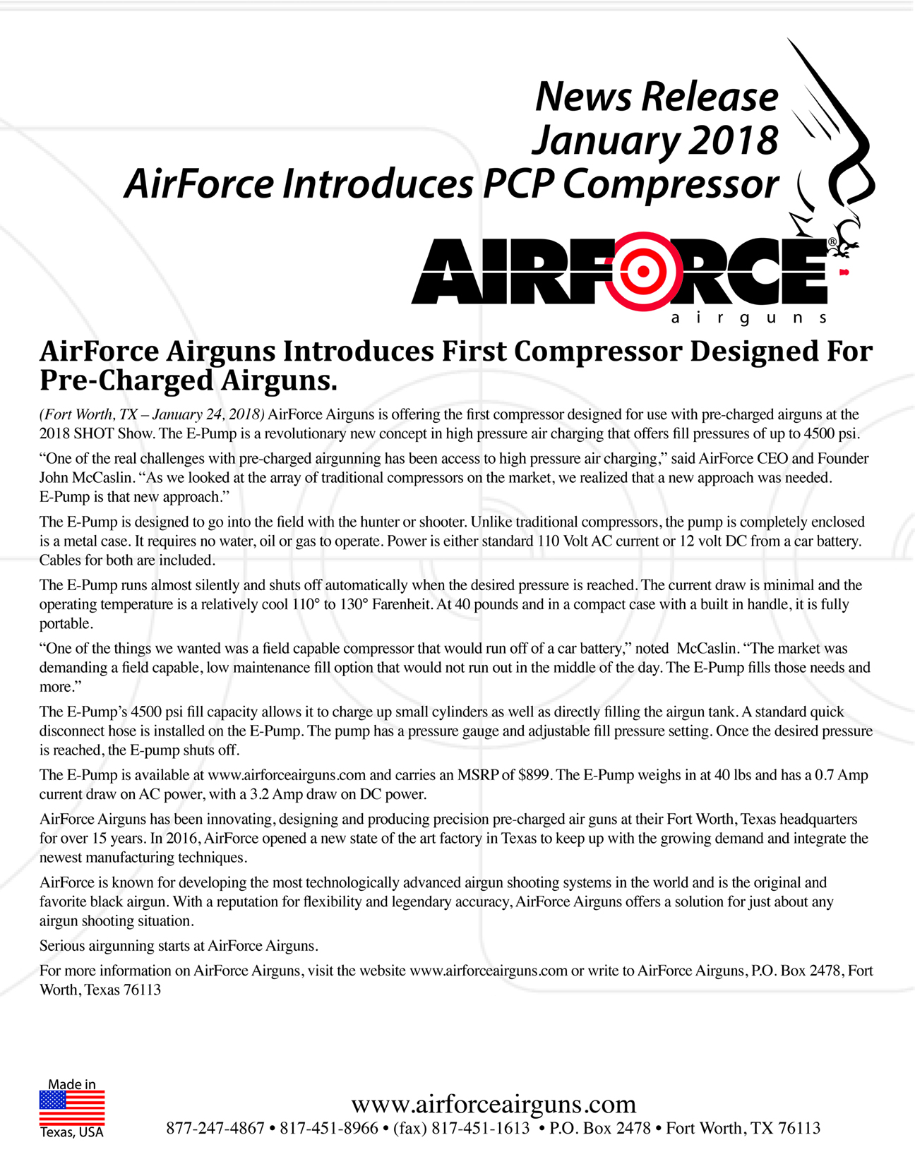 AirForce Airguns Introduces First Compressor Designed ForPre-Charged Airguns.