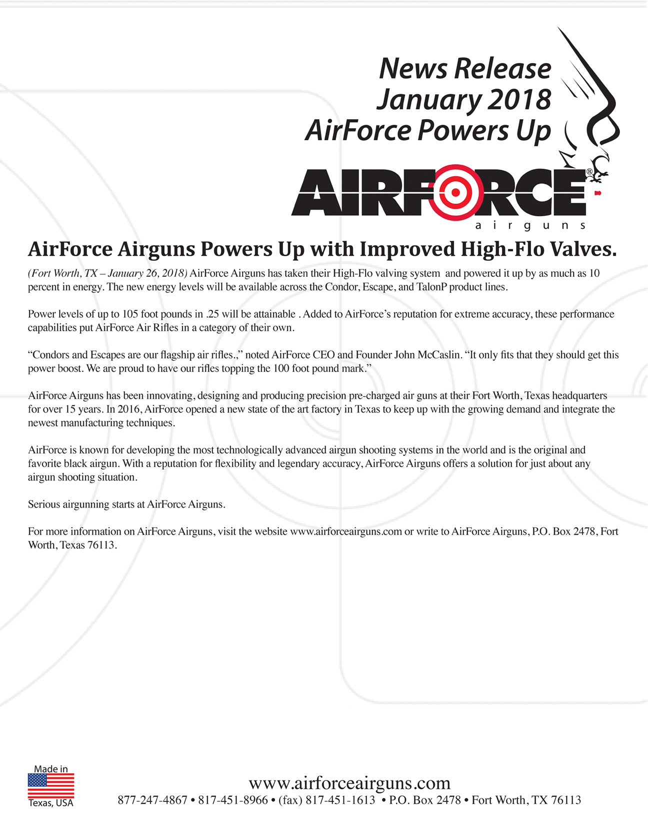 AirForce Airguns Powers Up with Improved High-Flo Valves.