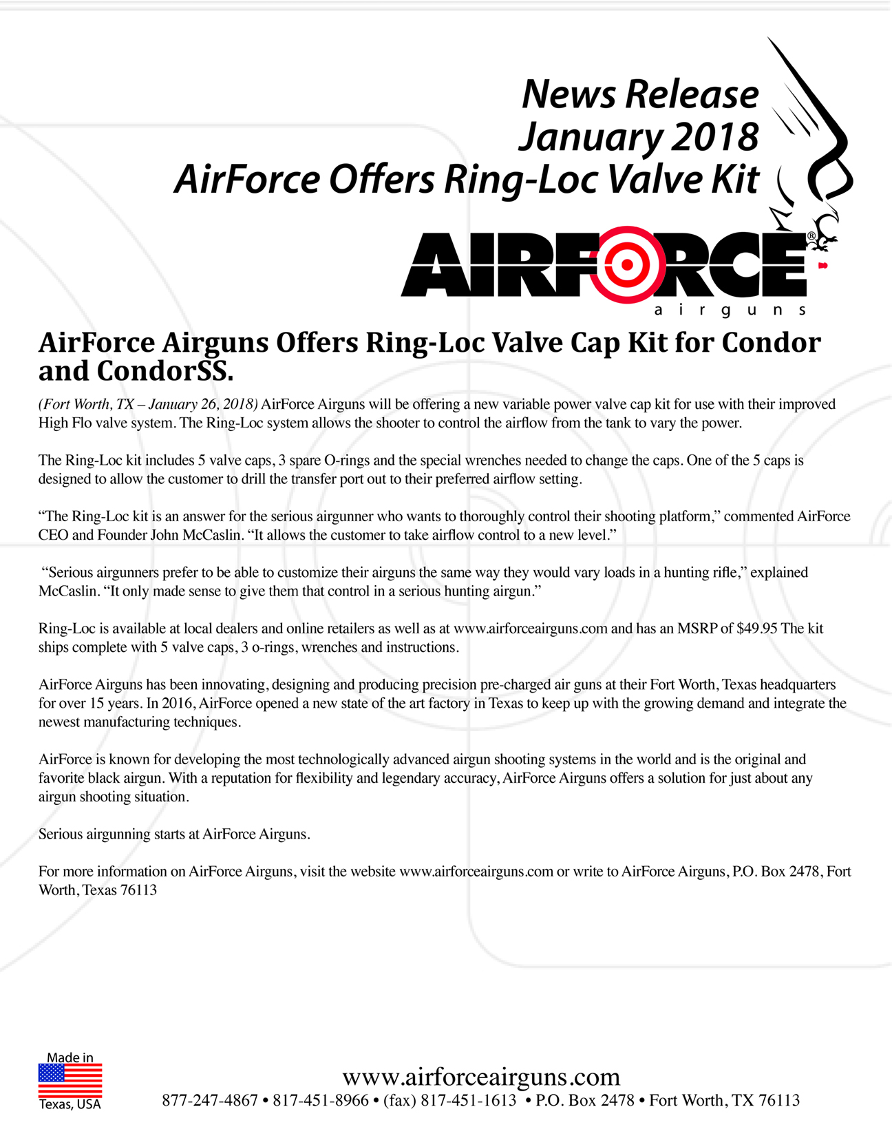 AirForce Airguns Offers Ring-Loc Valve Cap Kit