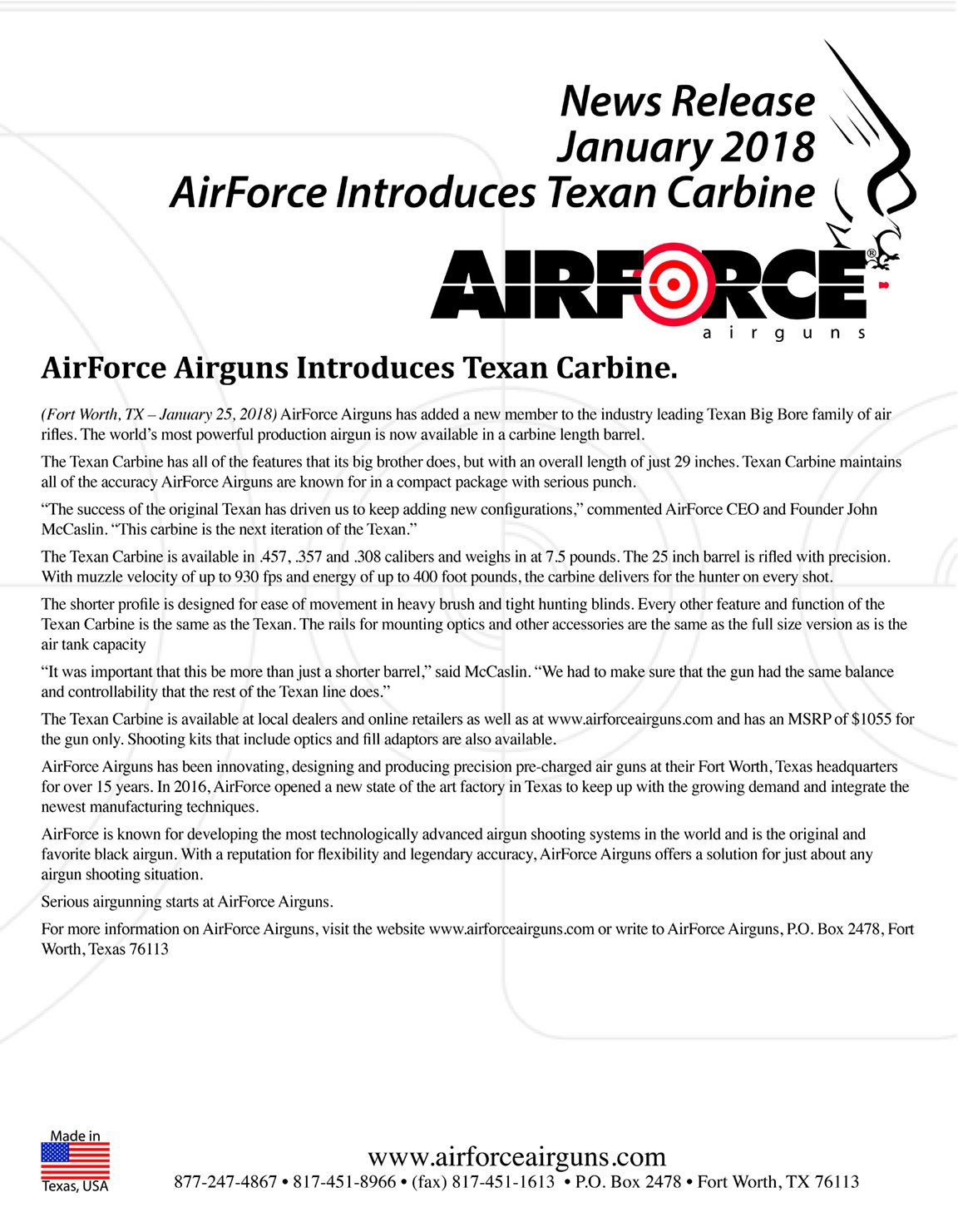 AirForce Airguns Introduces Texan Carbine.