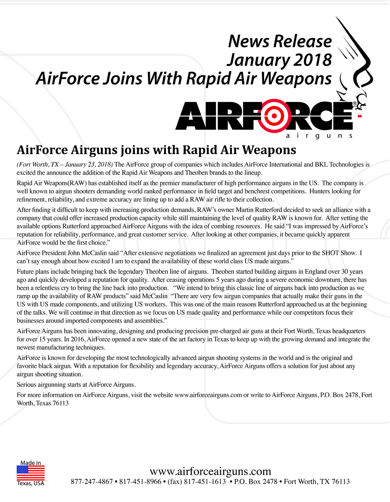 AirForce Airguns joins with Rapid Air Weapons