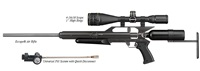 "AirForce Airguns Escape w/Universal Fill System, 4-16X50 Scope, 1"" High Rings"